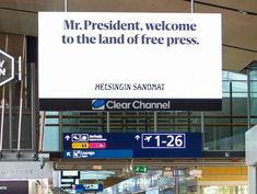 Trump, Putin mocked by Finnish newspaper billboards over freedom of the press