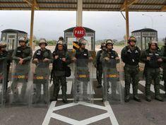 Humanitarian aid for Venezuelans stored at bridge crossing border