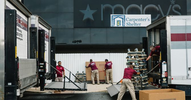 A Macy's Goes From Mall Mainstay to Homeless Shelter